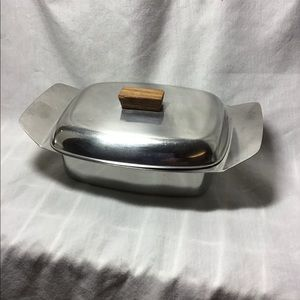 Vintage Stainless Steel Covered Butter Dish Wood